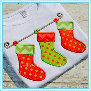 3 Stockings Applique - embroidery-boutique
