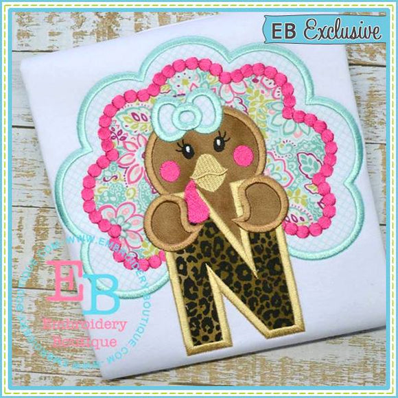 Girl Turkey Applique Alphabet - embroidery-boutique