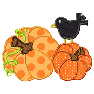 Pumpkins and Crow Applique - embroidery-boutique