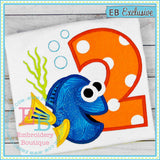 Miss Fish Applique Numbers - embroidery-boutique