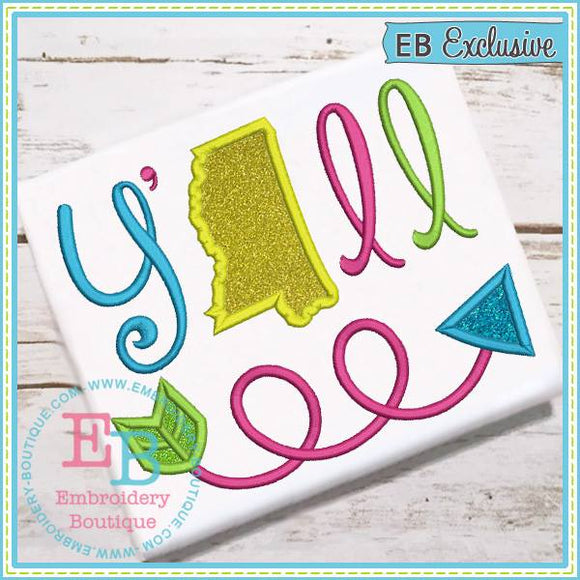 Y'all Mississippi Applique - embroidery-boutique