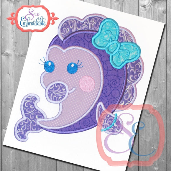 Shy Girl Fish Applique - embroidery-boutique
