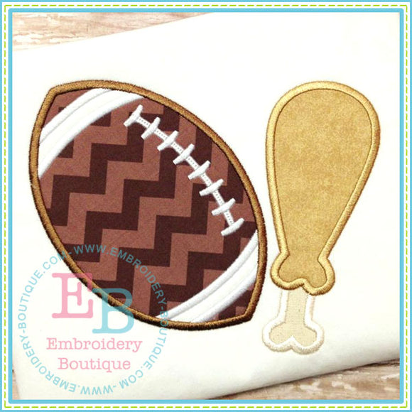 Football and Turkey Leg Applique - embroidery-boutique
