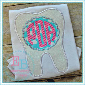 Monogram Tooth Scalloped Applique
