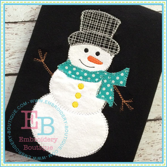 Scribble Snowman Applique - embroidery-boutique