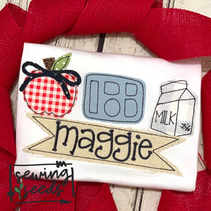 School Lunch Trio with Bow Applique SS - Sewing Seeds