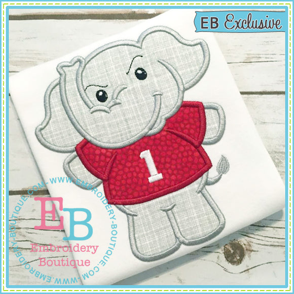 Boy Elephant Mascot Applique, Applique