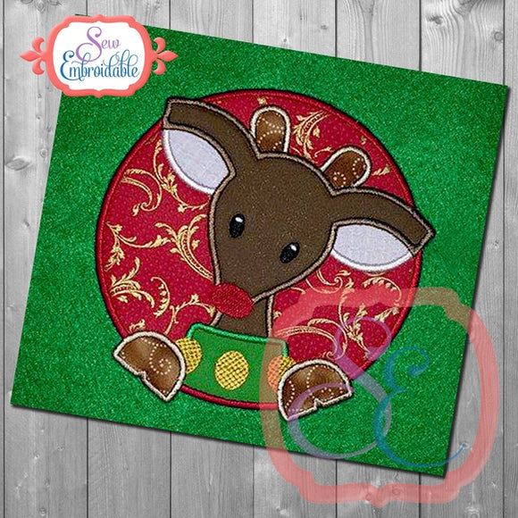 Reindeer Boy Circle Applique - embroidery-boutique
