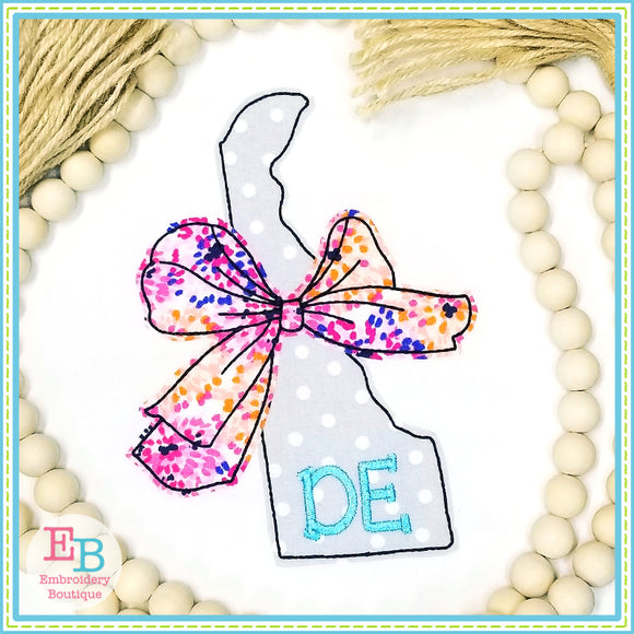 Big Bow Delaware Bean Stitch Applique, Applique