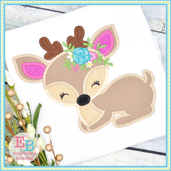Deer Flowers Satin Applique