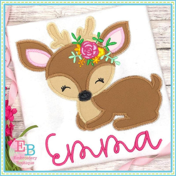 Deer Flowers Zigzag Applique