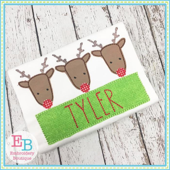 Reindeer Trio Sketch Applique - embroidery-boutique