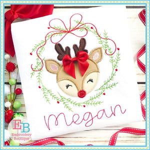 Deer Wreath Zigzag Applique, Applique
