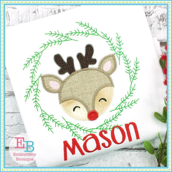 Deer Wreath Boy Zigzag Applique, Applique