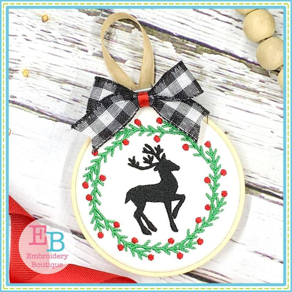 Reindeer Wreath Embroidery Design