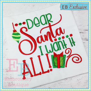 Dear Santa Applique, Applique