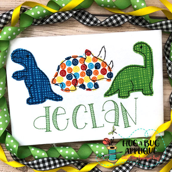 Dinosaur Trio 2 Bean Stitch Applique Design