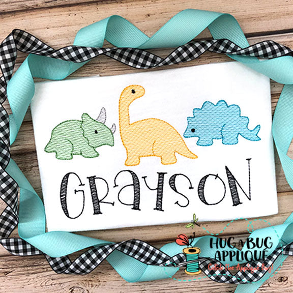 Dinosaur Trio Sketch Embroidery Design-Embroidery Boutique