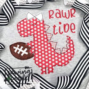 Dino with Bow Football Applique SS - Sewing Seeds