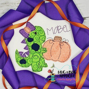 Dino Girl Pumpkin Bean Stitch Applique Design, Applique