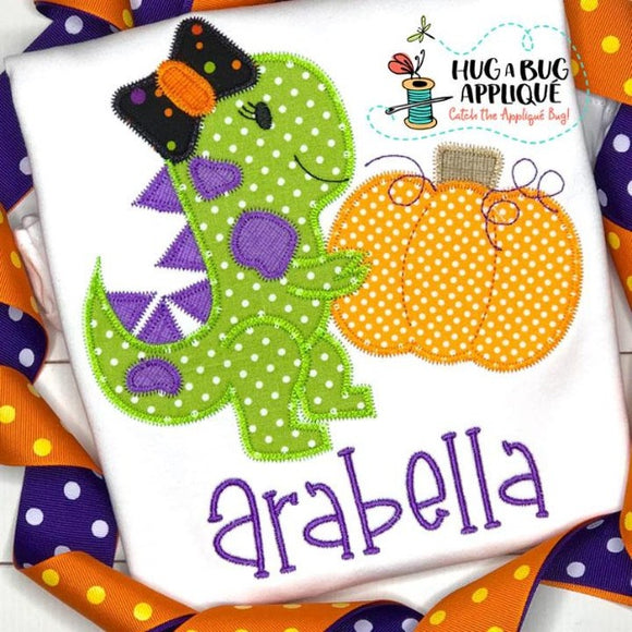 Dino Girl Pumpkin Zig Zag Stitch Applique Design, Applique