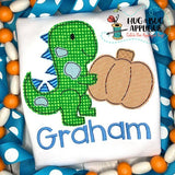 Dino Pumpkin Bean Stitch Applique Design, Applique