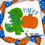 Dino Pumpkin Zig Zag Stitch Applique Design, Applique