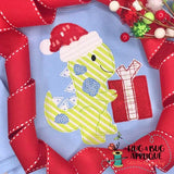 Dino Santa Bean Stitch Applique Design, Applique