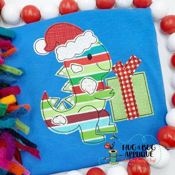 Dino Santa Bean Stitch Applique Design