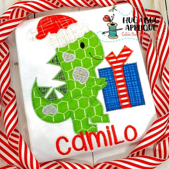 Dino Santa Zig Zag Stitch Applique Design, Applique