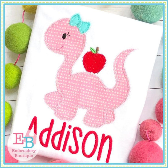 Dinosaur Girl With Apple Zigzag Applique