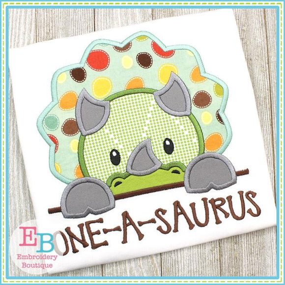 Triceratops Boy Peeker Applique, Applique