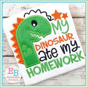 Dinosaur Ate Applique - Embroidery Boutique