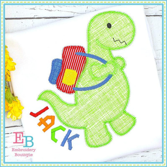Dinosaur With Backpack Zigzag Applique, Applique