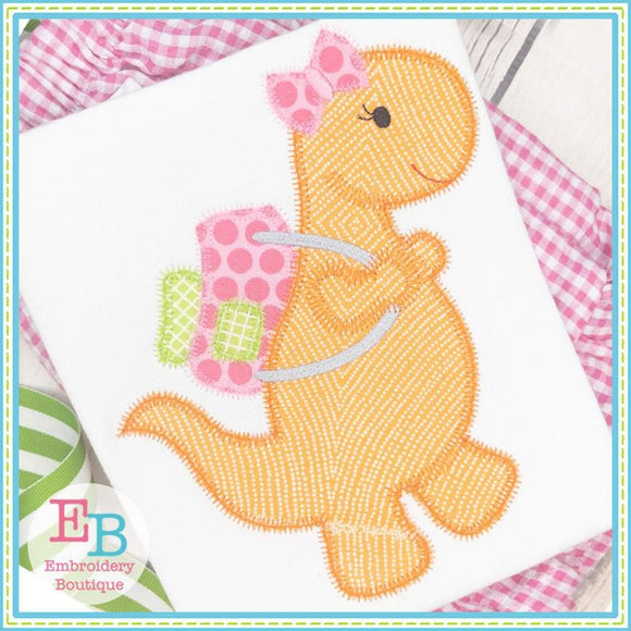 Dinosaur Girl With Backpack Zigzag Applique