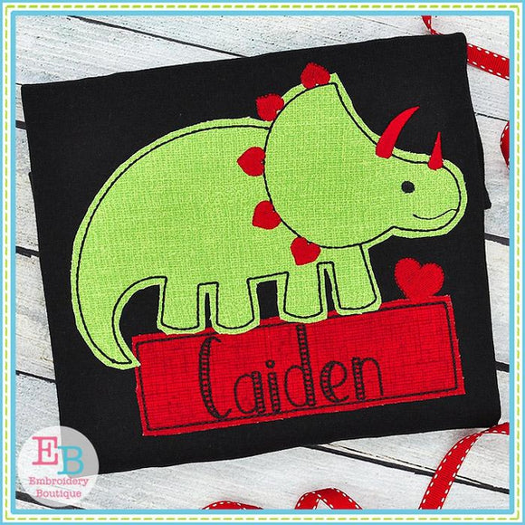 Dinosaur Hearts Bean Stitch Applique, Applique