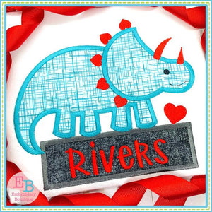 Dinosaur Hearts Satin Applique