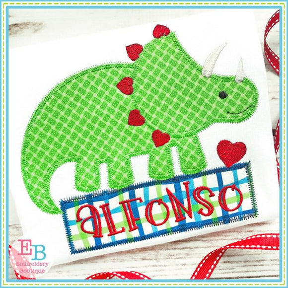 Dinosaur Hearts Zigzag Applique
