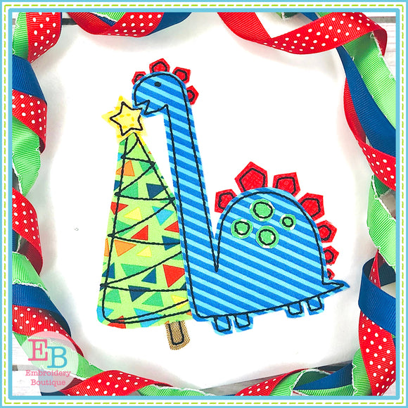 Dino Tree Bean Stitch Applique, Applique