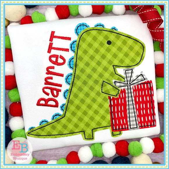 Dino Present Bean Stitch Applique, Applique