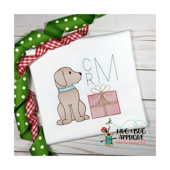 Pup Gift Sketch Stitch Embroidery Design, Embroidery