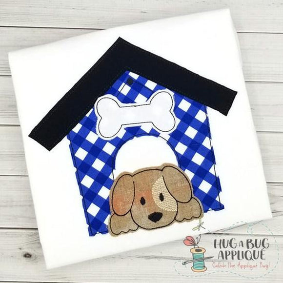 Dog House Bean Stitch Applique Design, Applique