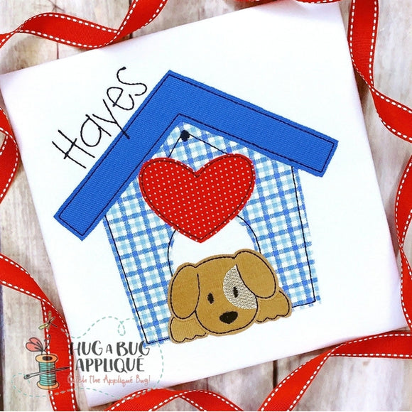 Dog House Heart Bean Stitch Applique Design, Applique