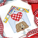 Dog House Heart Zig Zag Stitch Applique Design, Applique
