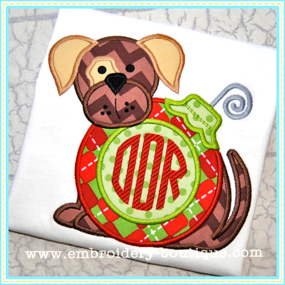 Monogrammed Ornament Puppy Applique, Applique