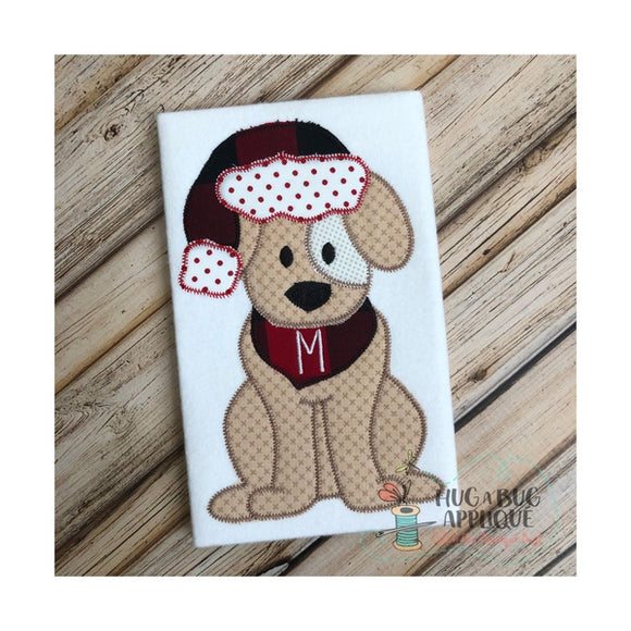 Dog Santa Hat Zig Zag Stitch Applique Design, Applique