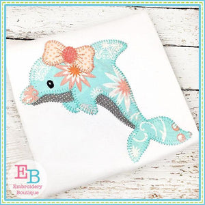 Dolphin Bow Blanket Stitch Applique - embroidery-boutique