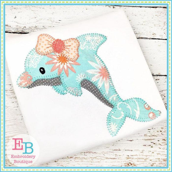 Dolphin Bow Blanket Stitch Applique - Embroidery Boutique