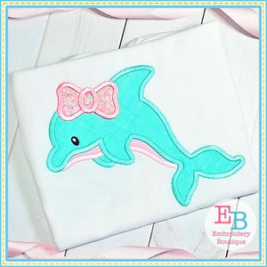 Dolphin Bow Applique - Embroidery Boutique