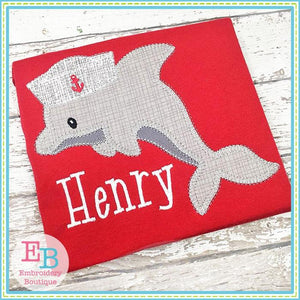 Dolphin Hat Blanket Stitch Applique - Embroidery Boutique